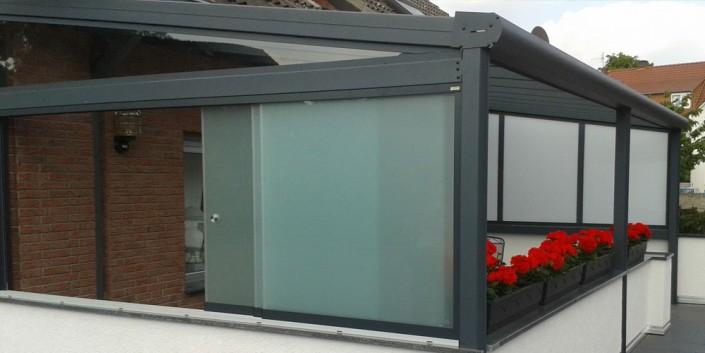 Seitenwände für Terrassenüberdachung Glas