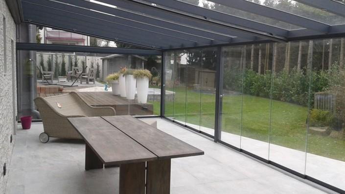 Terrassenüberdachung Glaswände VSG schiebbar