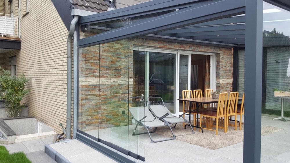 Terrassenuberdachung Seitenwand Glas ~ Terrassenüberdachung mit glaswänden schiebbar team is tec ihr